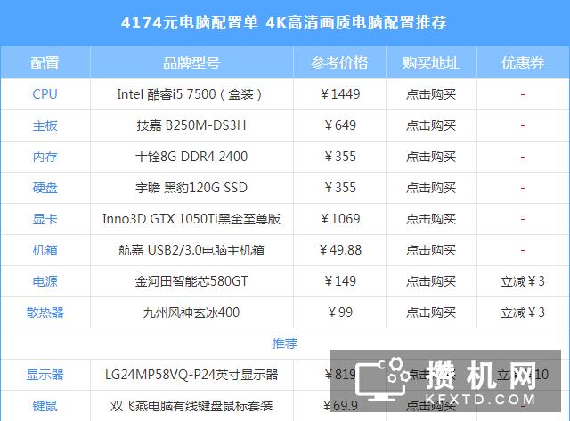 技嘉B250M-DS3H配i5-7500 4K画质要求什么样的配置